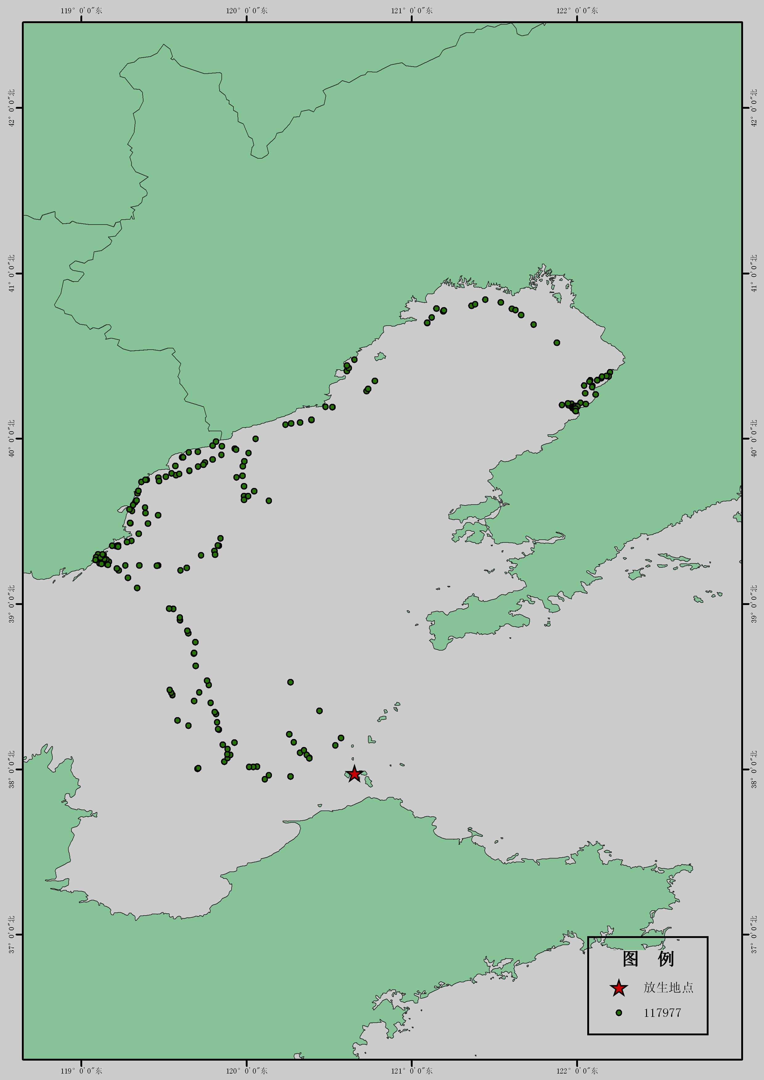 """辽东湾斑海豹_GPS卫星图:""""海纳""""、""""渤跃""""最新行进路线-青岛水族馆官方网站"""